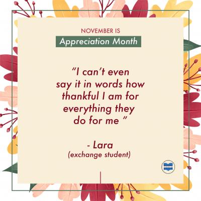 Host family appreciation month