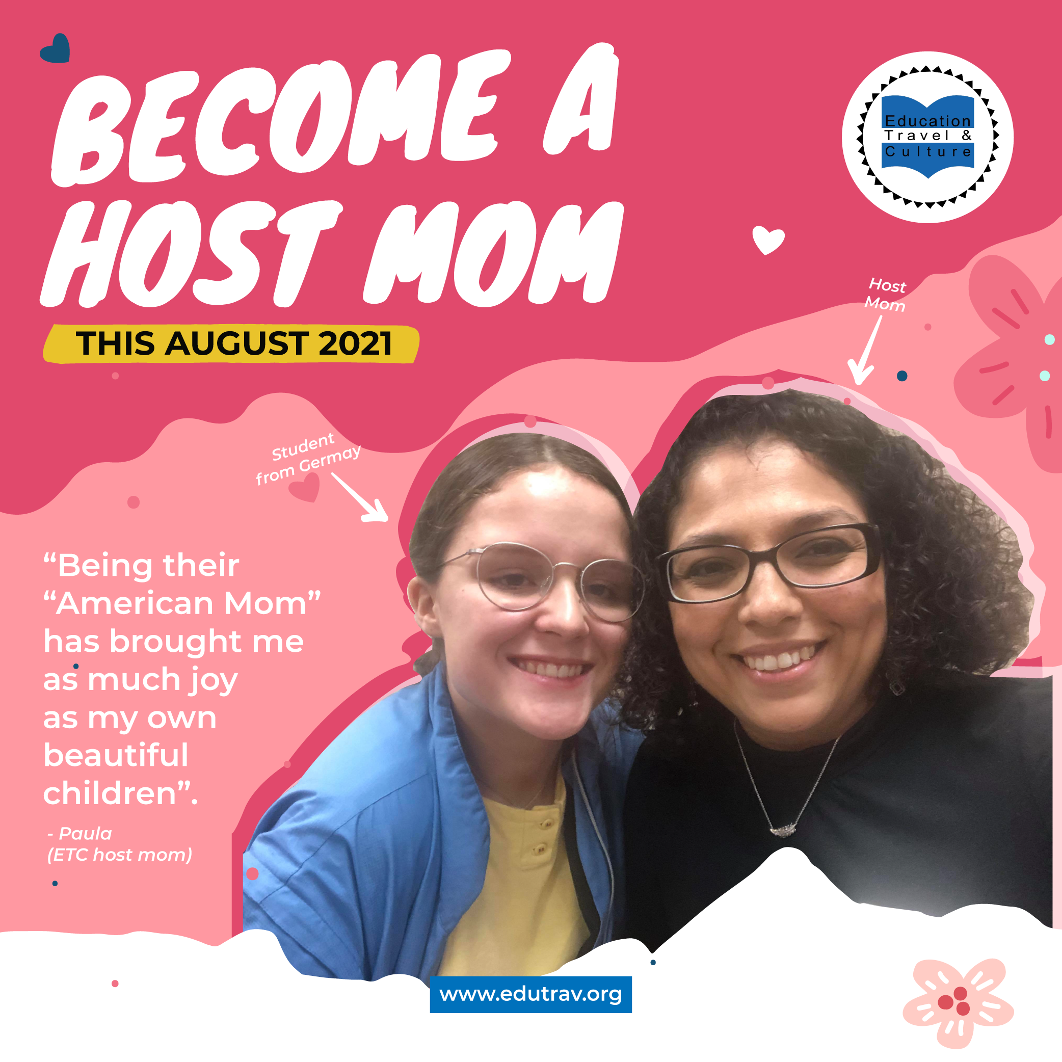 ETC Students Celebrate Their Host Moms for Mother's Day 2021